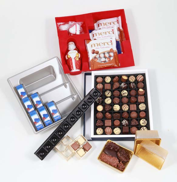 sichere Tiefzieheinsätze für vielfältige Schokoladenartikel